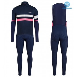 2017 Rapha Brevet Blue-Pink Thermal Cycling Jersey And Bib Pants Set