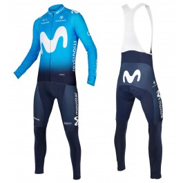 2018 Movistar Team Blue Long Sleeve Cycling Jersey And Bib Pants Set