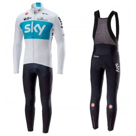 2018 SKY Team White Long Sleeve Cycling Jersey And Bib Pants Set