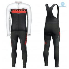 2018 Scott-RC Whte-Red-Black Thermal Cycling Jersey And Bib Pants Set