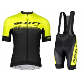 2019 Scott RC Yellow-Black Cycling Jersey And Bib Shorts Set