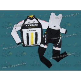 2011 Trek U23 Black And White Winter Thermal Cycling Long Sleeve Jersey and Bib Pants Set