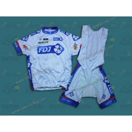 2013 Francaise des Jeux White Cycling Jersey And Bib Shorts