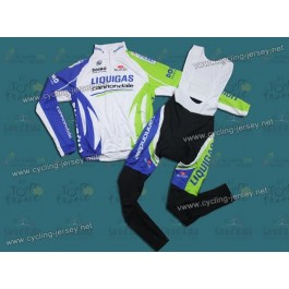 2011 Liquigas Team Thermal Long Sleeve Cycling Jersey And Bib Pants Set