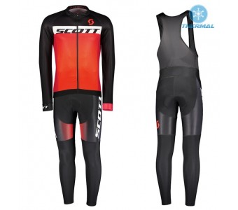 2017 Scott RC Black-Red Thermal Cycling Jersey And Bib Pants Set