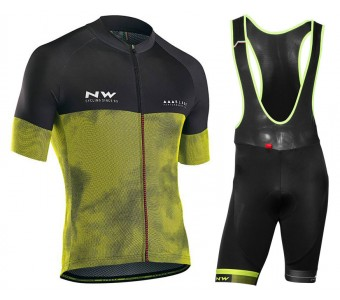 2018 Northwave Blade 3 Yellow Cycling Jersey And Bib Shorts Set