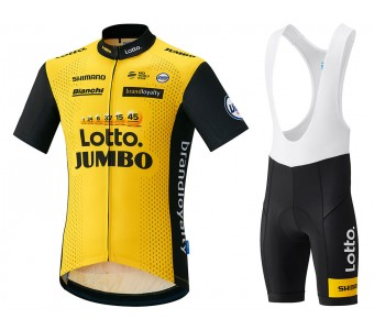 2018 Lotto-Jumbo Yellow Cycling Jersey And Bib Shorts Set