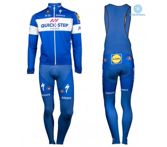 2018 Quick Step Team Thermal Cycling Jersey And Bib Pants Set