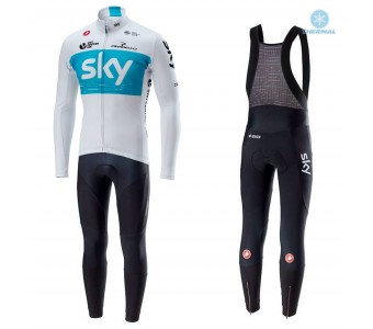 2018 SKY Team White Thermal Cycling Jersey And Bib Pants Set