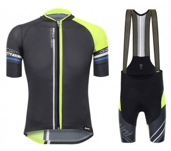 2017 Santini Airform 2.0 Black-Yellow Cycling Jersey And Bib Shorts Set