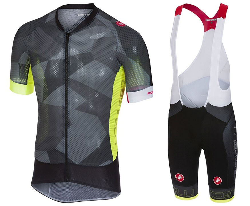 2018 Cаstelli Climber's 2.0 Black-Yellow Cycling Jersey And Bib Shorts Set