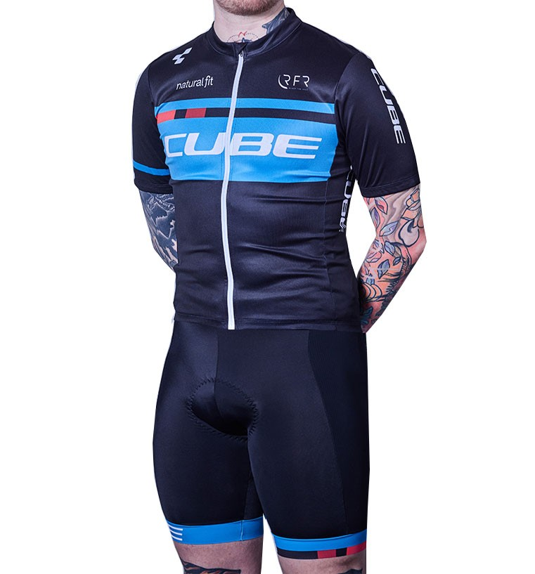 2018 Team Cube Black Cycling Jersey And Bib Shorts Set