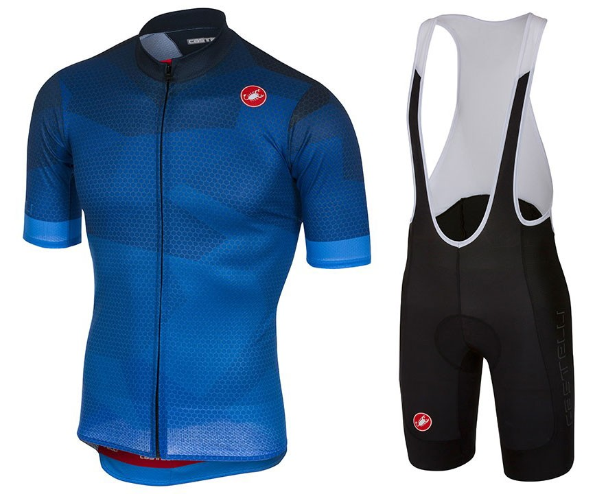2018 Cаstelli Flusso Blue Cycling Jersey And Bib Shorts Set