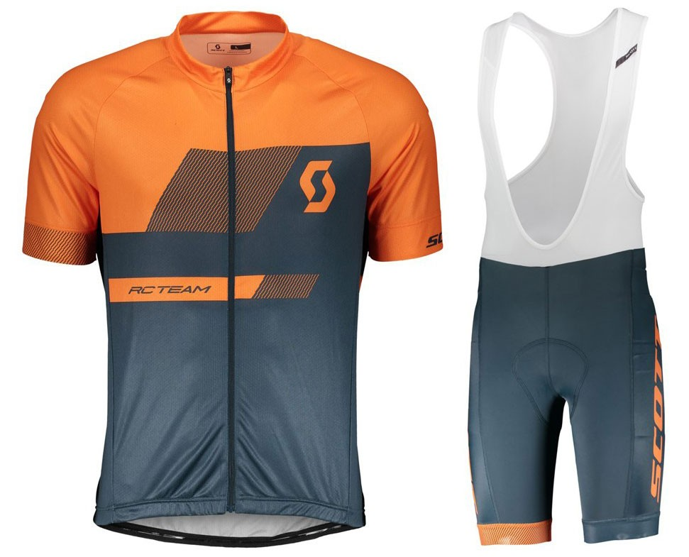 2018 SCOTT-TEAM 1.0 Orange Cycling Jersey And Bib Shorts Set