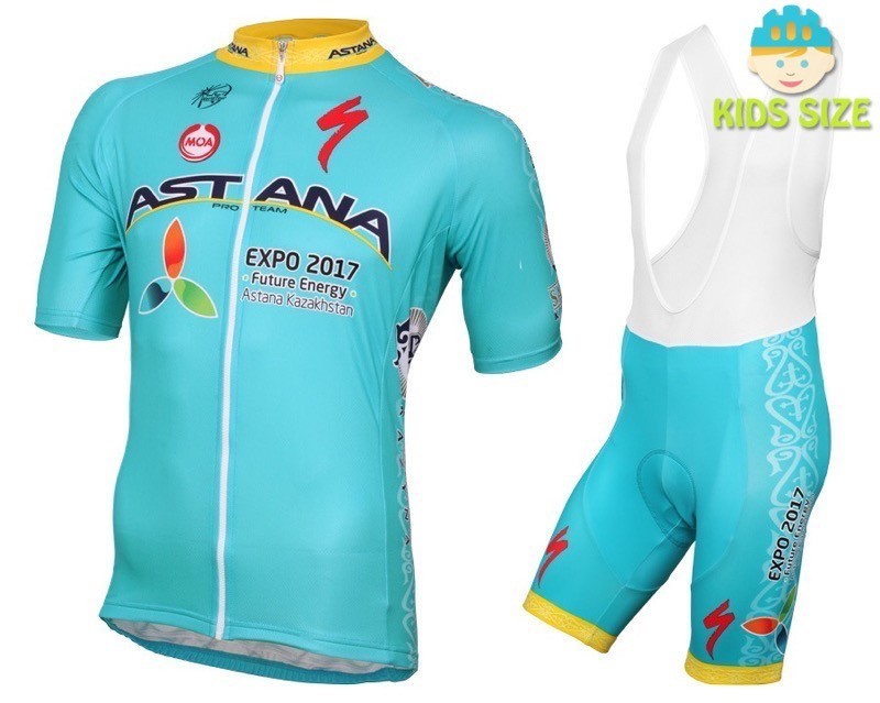 6730ad3a2 2016 Astana Pro Team Short Sleeve Kids Cycling Jersey And Bib Shorts Set