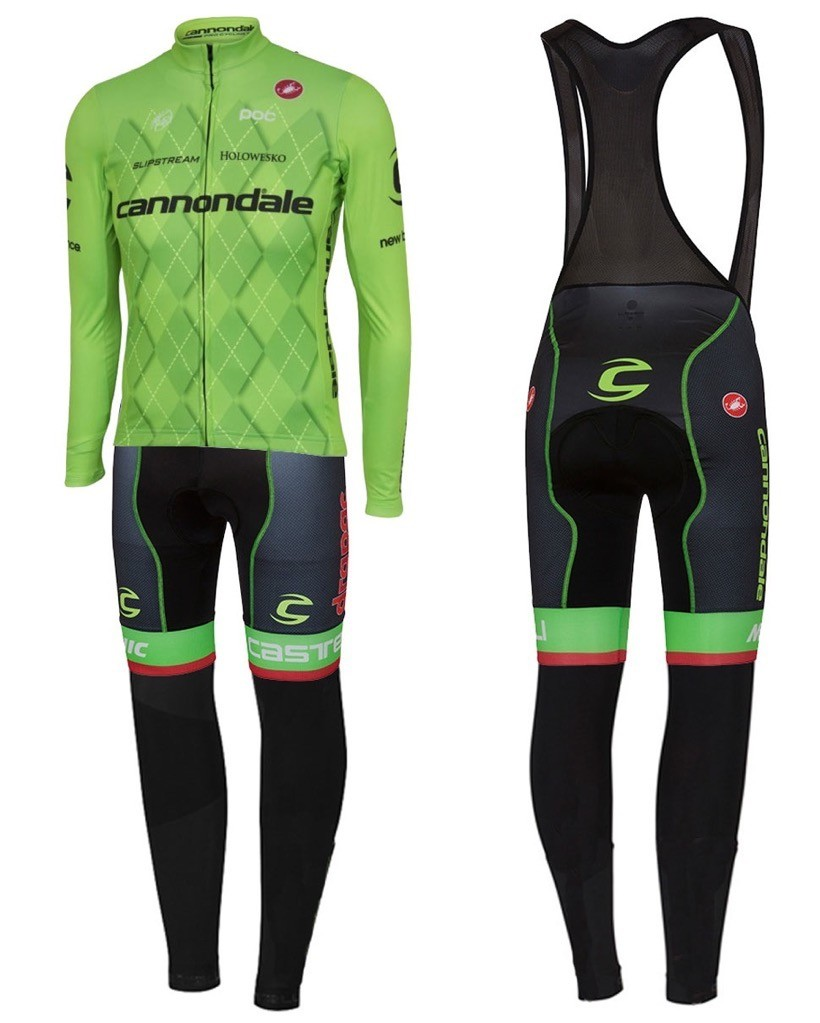519979180 2016 Cannondale Team Green Pro Long Sleeve Cycling Jersey And Bib Pants Set