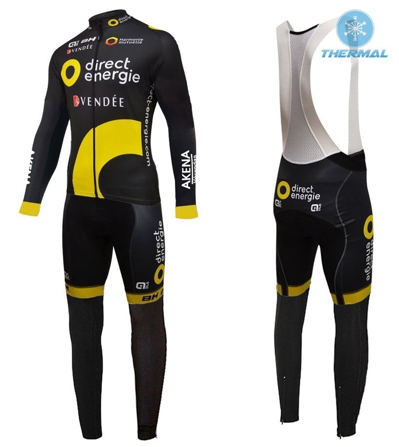 a5caf9562 2016 Direct Energie Team Black Thermal Long Sleeve Cycling Jersey And Bib  Pants Set