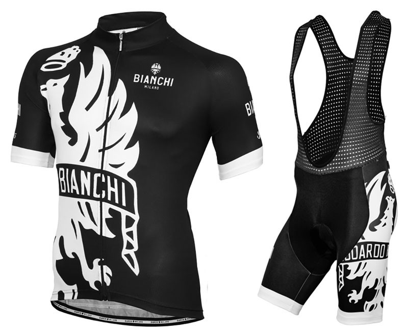 3d4f80e47b 2016 Bianchi Milano Sorisole Black-White Cycling Jersey And Bib Shorts Set