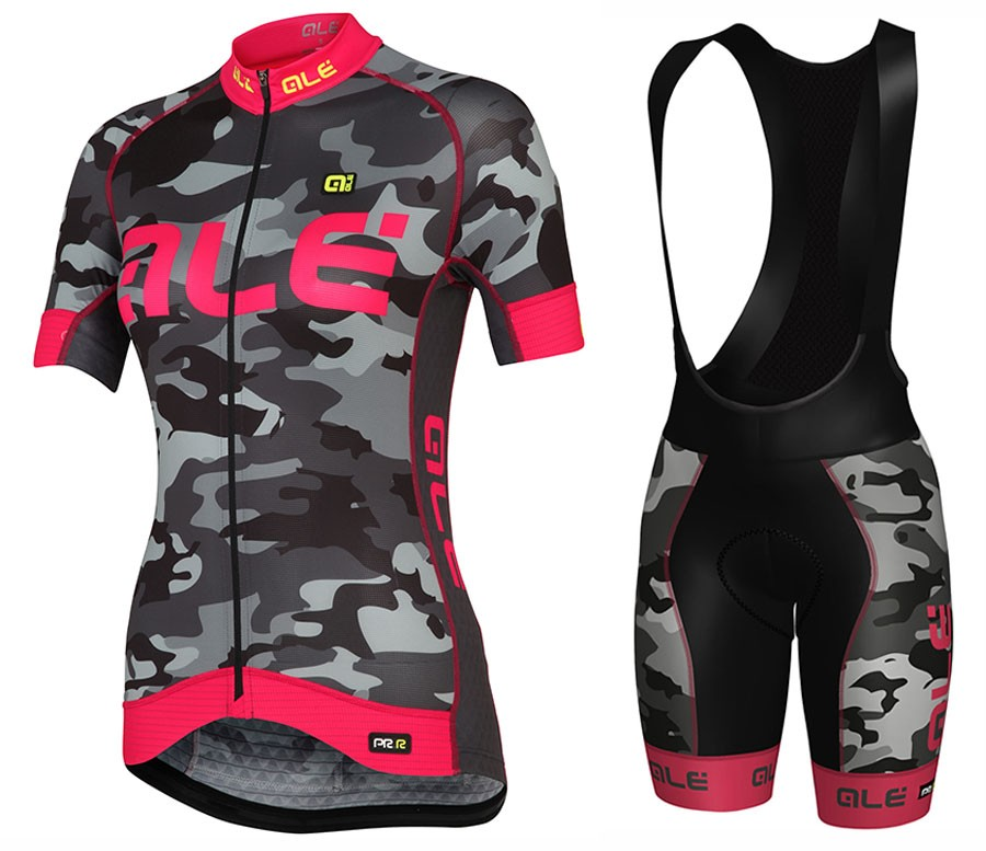 2017 Ale Graphics PRR Camo Women s Black-Pink Cycling Jersey And Bib Shorts  Set 913e24787