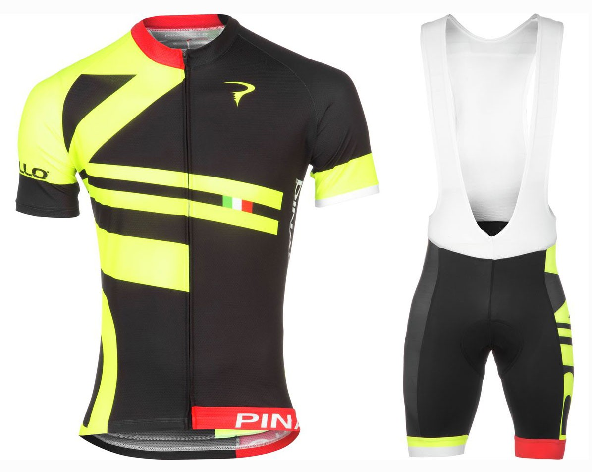 2016 Pinarello Bandiera Black-Yellow Cycling Jersey And Bib Shorts Set a1ecf4a3f