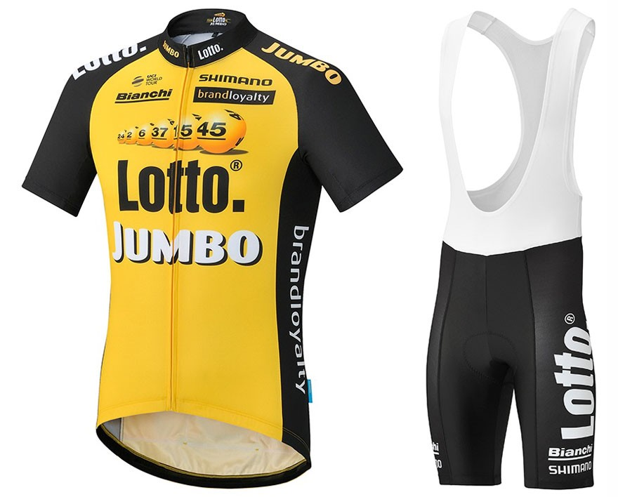 12b09e6b9 2017 Lotto NL-Jumbo Yellow Cycling Jersey And Bib Shorts Set