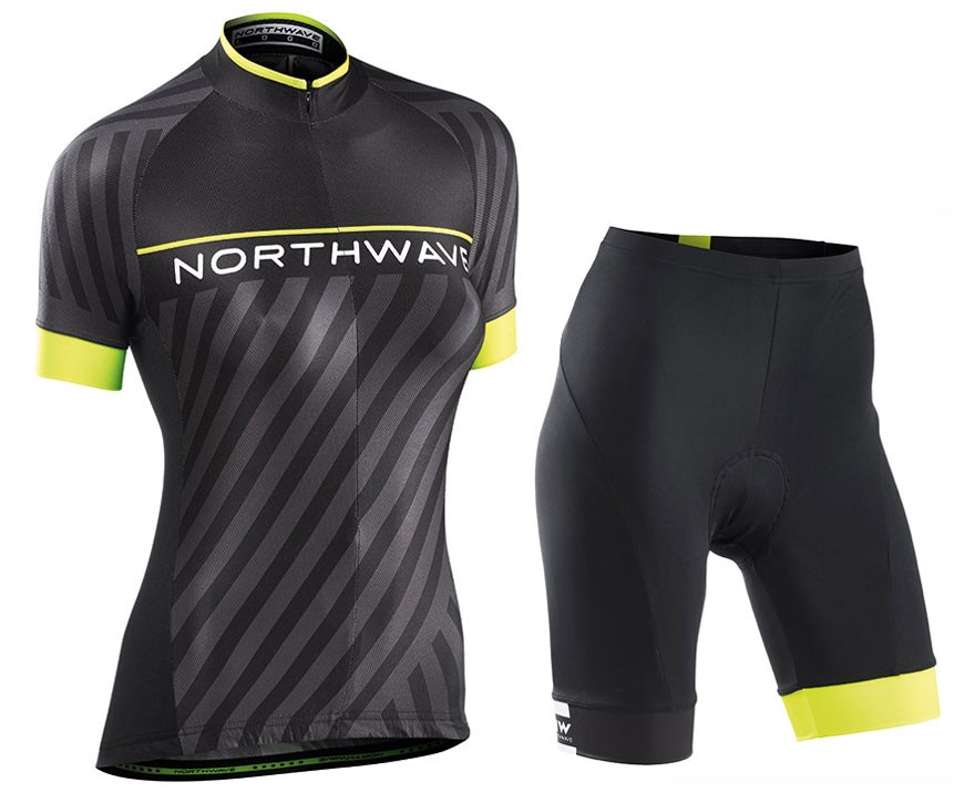 2017 Northwave Logo 3 Women s Black Cycling Jersey And Shorts Set c5690e0bd