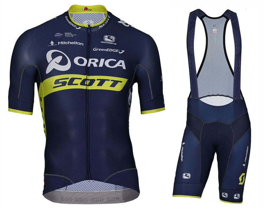 2017 Team Orica Scott Cycling Jersey And Bib Shorts Set 0afde1c46