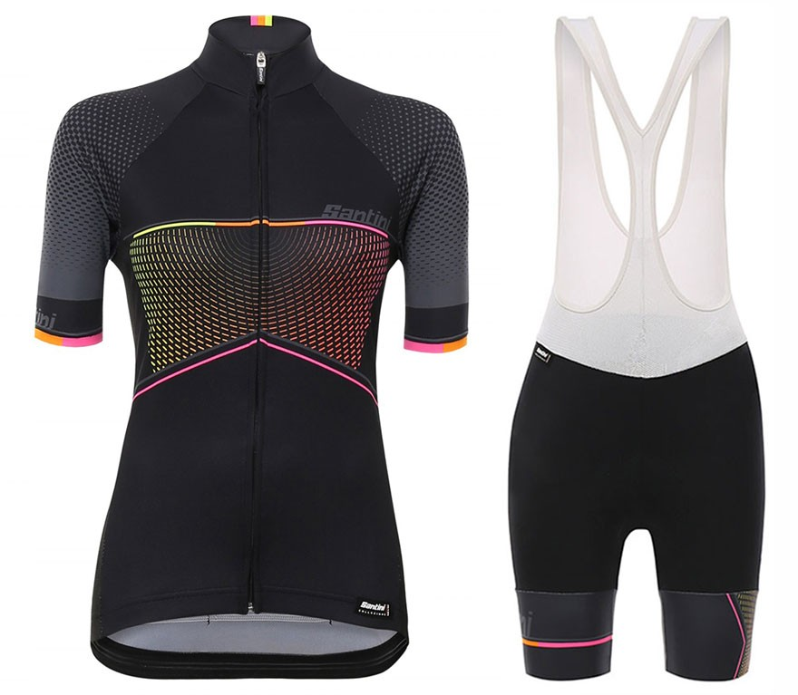 2017 Santini Stella Women s Black Cycling Jersey And Bib Shorts Set 855018c78