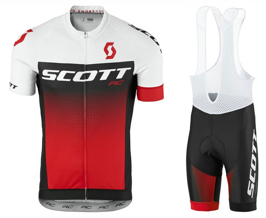 2017 Scott RC White-Black-Red Cycling Jersey And Bib Shorts Set