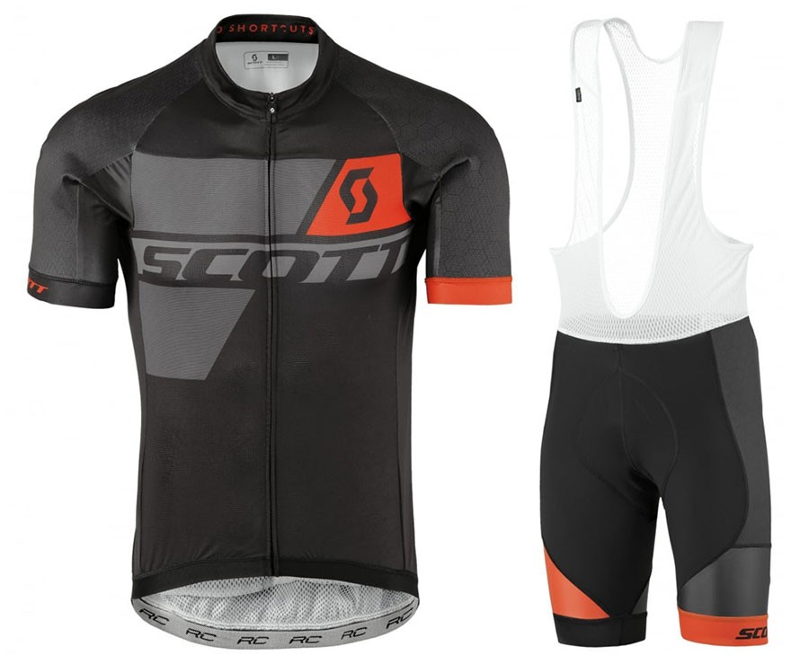 2017 Scott RC Premium Pro Black-Orange Cycling Jersey And Bib Shorts Set 78915313c