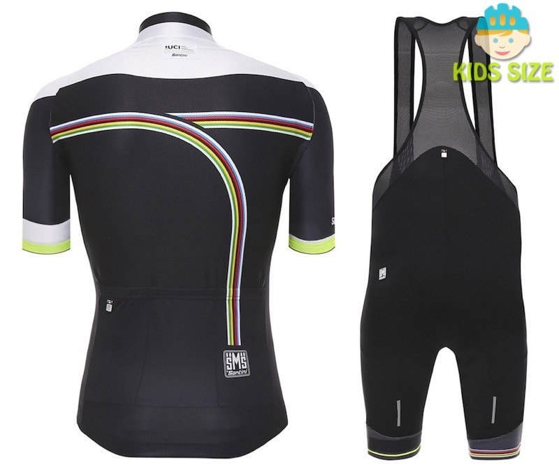 fd0347ad9 2016 Santini UCI Rainbow Line White Kids Cycling Jersey And Bib ...
