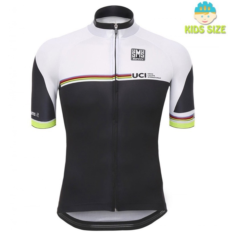 b4751b0f1 2016 Santini UCI Rainbow Line White Kids Cycling Jersey And Bib Shorts Set