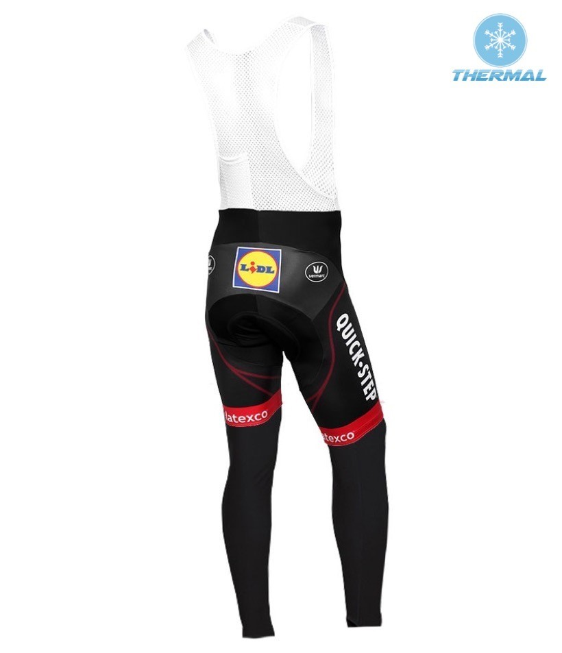 4069b1018 2016 Etixx-Quick Step TDF Edition Red Thermal Long Sleeve Cycling Jersey  And Bib Pants Set
