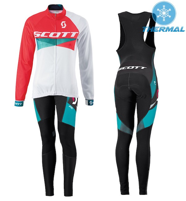 3f127f6de 2015 Scott RC Red-White Women s Thermal Long Sleeve Cycling Jersey And Bib  Pants