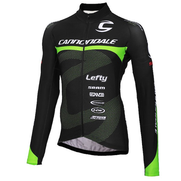 2015 Cannondale Factory Team Black-Green Cycling Long Sleeve Jersey a5cf92826