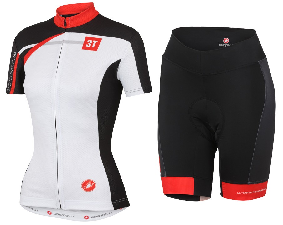 2015 Cаstelli 3T White Women Cycling Jersey And Regular Shorts Set f5828693f