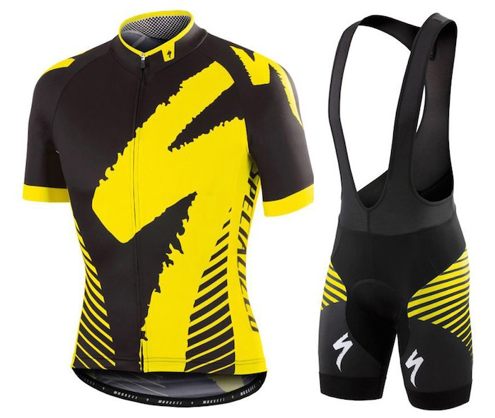 2016 SPED Team LS Black-Yellow Cycling Jersey And Bib Shorts