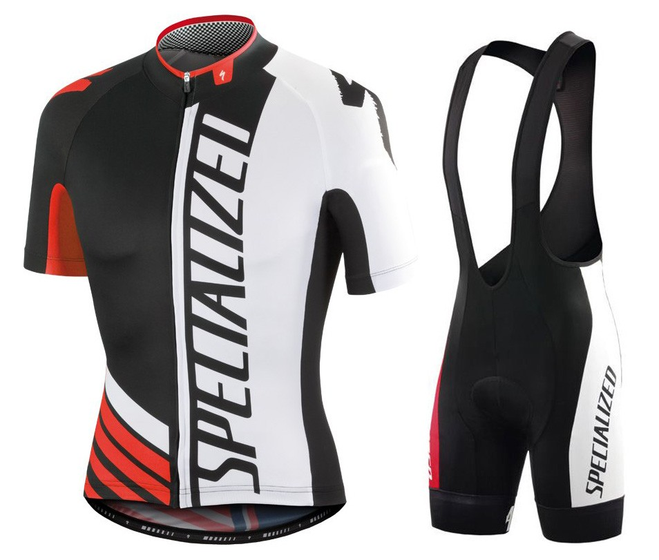 2016 SPED Pro Team SZK Black-White-Red Cycling Jersey And Bib Shorts Set c982083e9