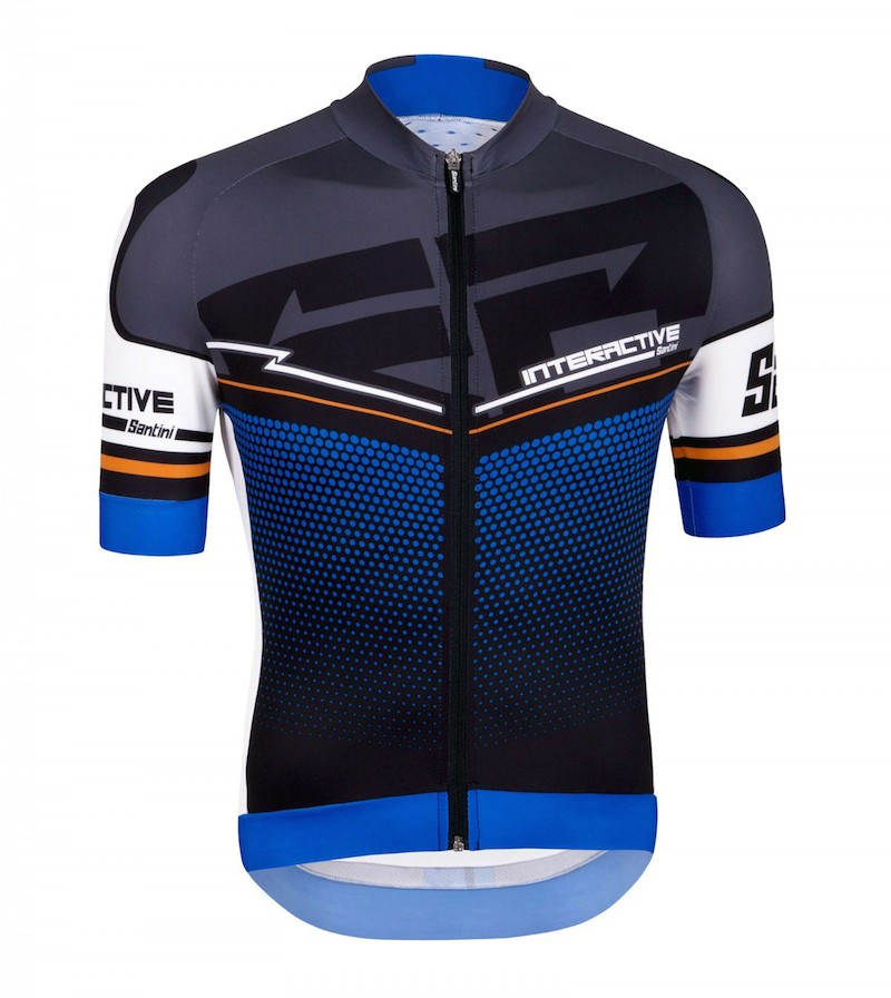 fe84bc802 2016 Santini Interactive 3.0 Black-Blue Cycling Jersey