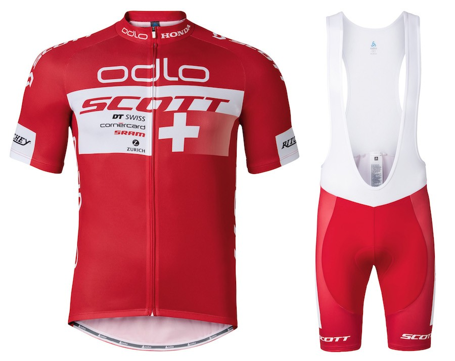 2016 Scott ODLO Team Red Cycling Jersey And Bib Shorts Set f37a8582b