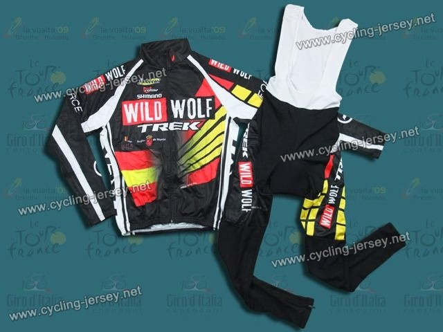 2012 WildWolf Trek Spain Champion Thermal Cycling Long Sleeve Jersey And Bib Pants Set