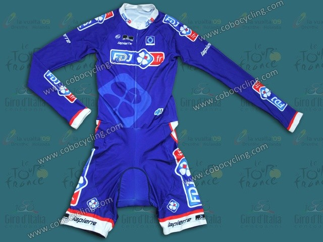 2014 Francaise des Jeux Blue Long Sleeve Cycling Skinsuit Time Trail Skin Suits