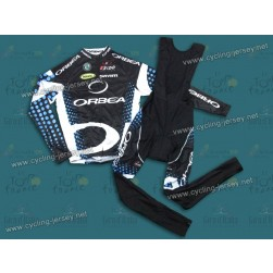 2011 Orbea Black and Blue Dot Cycling Long Sleeve Jersey And Bib Pants Set