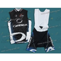 2011 Orbea Black and Blue Dot Cycling Vest and Bib Shorts Set