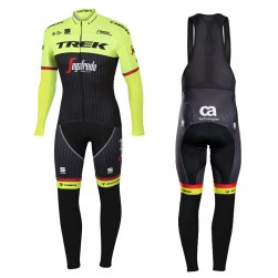2017 Trek Pro Race Yellow Long Sleeve Cycling Jersey And Bib Pants Set