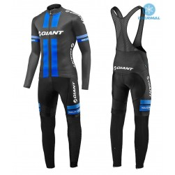 2017 Team Giant Black-Blue Thermal Cycling Jersey And Bib Pants Set