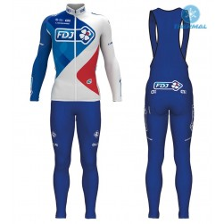 2017 Team FDJ White Thermal Cycling Jersey And Bib Pants Set