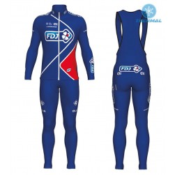 2017 Team FDJ Blue Thermal Cycling Jersey And Bib Pants Set
