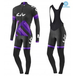 2017 Liv Race Day Women's Black-Purple Thermal Cycling Jersey And Bib Pants Set