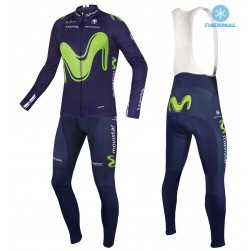 2017 Team Movistar Thermal Cycling Jersey And Bib Pants Set